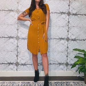 Yellow Button Up Midi Dress